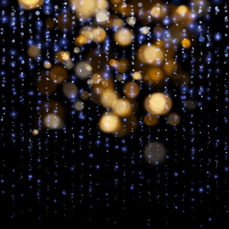 Blurred bokeh light on dark blue background. Christmas and New Year holidays template. Abstract glitter defocused blinking stars and sparks. EPS 10 vector file 일러스트