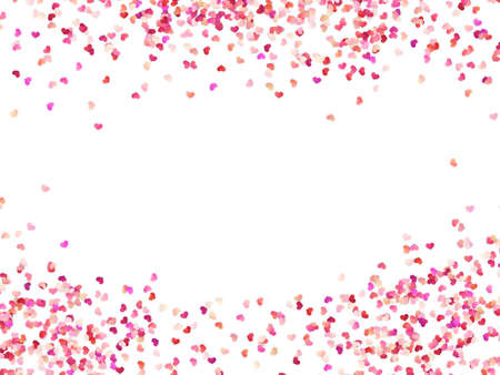 Multicolor paper hearts. Effect confetti easy to use. Valentines petals top view. Isolated on white background. EPS 10 vector file Vetores