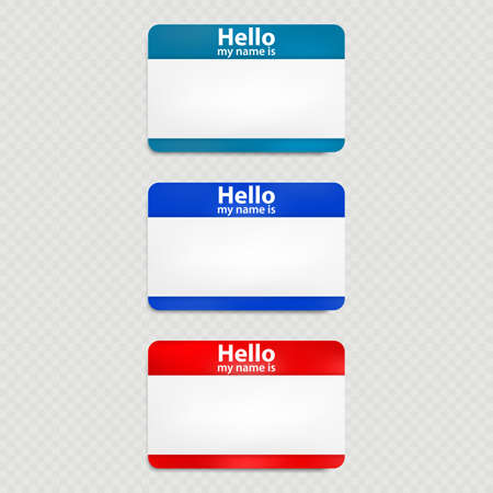 Set of red and blue hello name tag isolated. Illustration