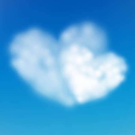 Pair heart shaped cloud in the blue sky. Valentine s day. EPS 10 vector file