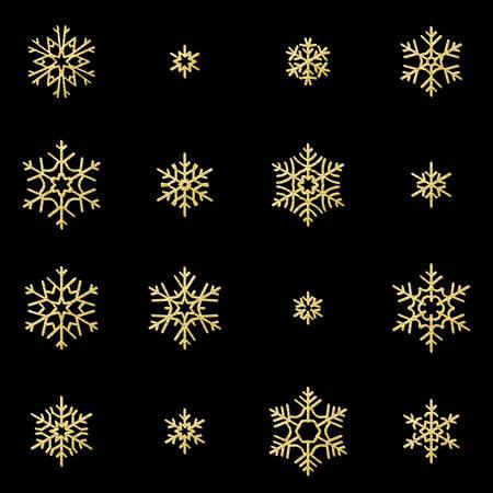 Satz von sechzehn goldenen Schneeflocken des Glanzreliefs lokalisiert auf schwarzem Hintergrund. Glitzerndes Dekorationsobjekt der Neujahrs- und Weihnachtskarte. EPS-10-Vektordatei Vektorgrafik