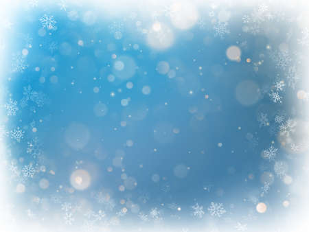 Christmas blue blurred bokeh light background. Holiday defocused glowing backdrop with blinking stars. EPS 10 vector file Illustration