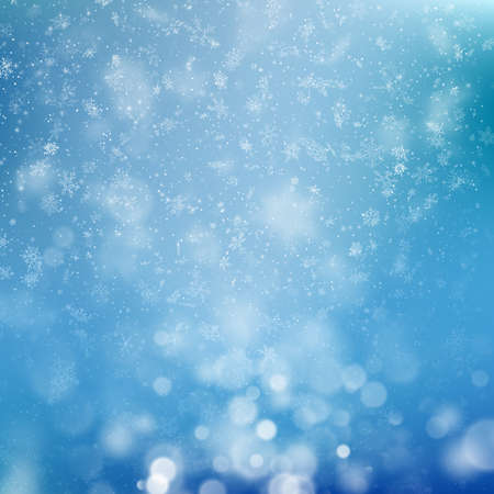 Christmas background with bokeh lights and snowflakes. New year template. EPS 10 vector file included
