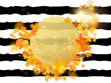 Gold circle with autumn maple leaves background. Season template for design banner, ticket, leaflet, card, poster and another. EPS 10 vector file