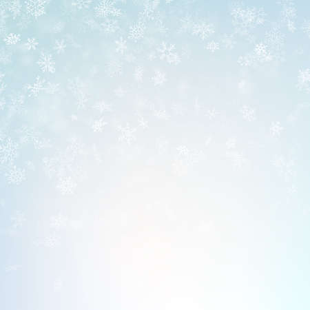 Blue blurred winter banner with snow flakes. EPS 10 vector file