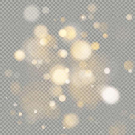 Effetto dei cerchi bokeh isolati su sfondo trasparente. Elemento di scintillio arancione caldo incandescente di Natale che può essere utilizzato. File vettoriale EPS 10