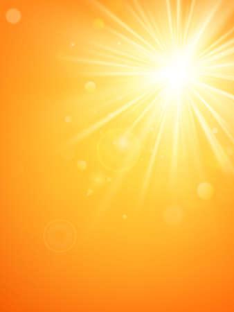 Plantilla de verano, rayos de sol de verano caliente estallan con destello de lente. Archivo de vector EPS 10