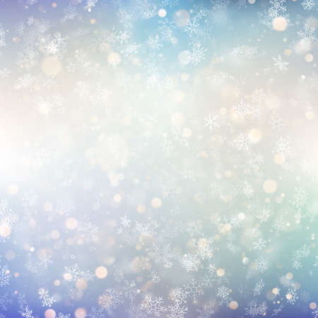 Christmas background with white blurred snowflakes. EPS 10 vector file
