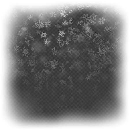 Christmas frame effect with white glowing light and snowflakes. EPS 10 vector file