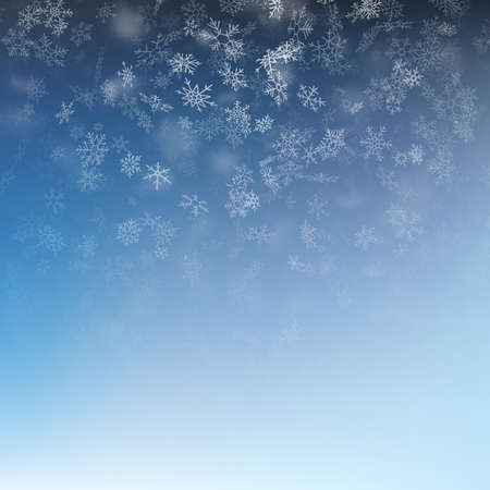 Snowflake flying, card or banner with snow elements, flakes confetti scatter. Cold weather winter symbols. EPS 10 vector file
