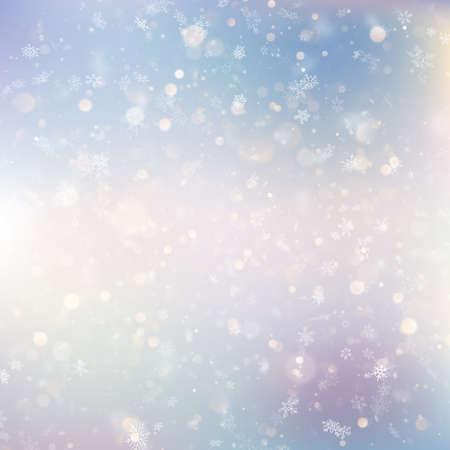 Fond de Noël avec des flocons de neige flous blancs. Fichier vectoriel EPS 10