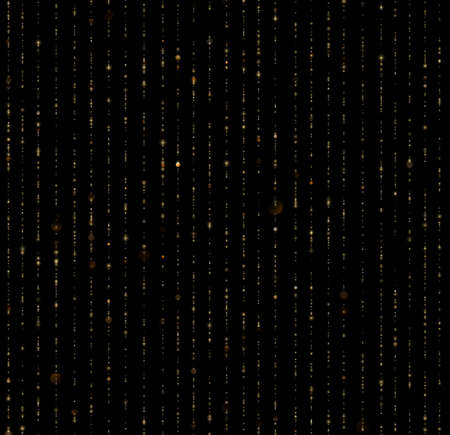 Seamless unique gold rain bokeh on black background. Sparkling lines of shimmering light blurs. Glitter threads of curtain backdrop. Holiday garland lights or fashion strass drops for carnival, Christmas, New Year decoration. EPS 10 vector file
