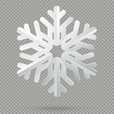 White realistic folded paper Christmas snowflake with shadow isolated on transparent background. EPS 10 vector file