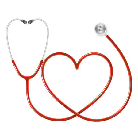 Medical and Health care concept, doctor s stethoscope isolated on white background. EPS 10 vector file Illustration