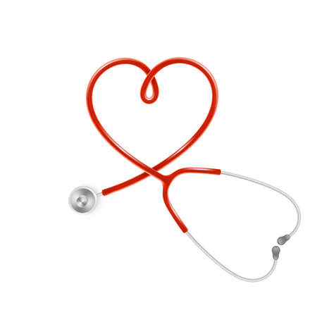 Medical and Health care concept, doctor s stethoscope isolated on white background. EPS 10 vector file Vettoriali