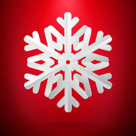 Red background with paper snowflake. EPS 10 vector file