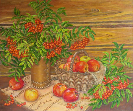 Painting oil still life mountain ash and apples. Original painting.