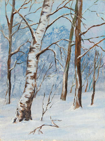 Winter landscape birch trees in the snow on a canvas. Original oil painting. Stock Photo