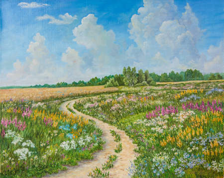 Summer landscape and country road on canvas hand drawn. Blossoming spring field. Sunny day, blue sky with light clouds. Original oil painting on canvas.