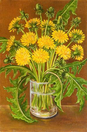 Still life summer field wild flowers. Original oil painting.
