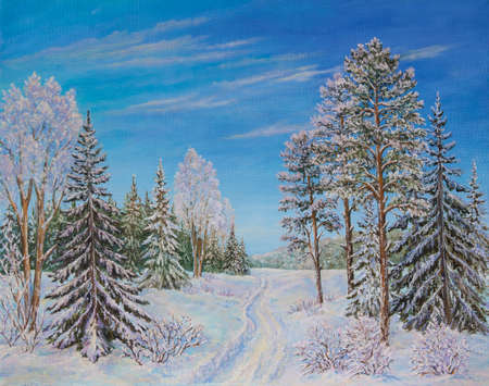 Winter landscape with the road and pine trees in the snow on a canvas. Original oil painting. Stock Photo