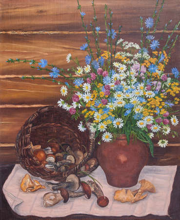 Still life of a basket of mushrooms and wild flowers. Original oil painting on canvas.