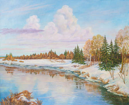 Spring landscape with river pine and birches trees. Original oil painting.