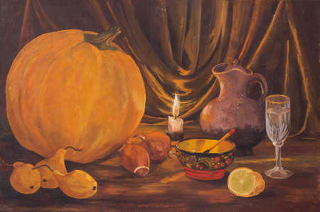 Autumn dark Thanksgiving concept with pumpkins, pear, onions, lemon, bowl, wine glass, jug and burning candles on table. Original oil painting on canvas. Stock Photo