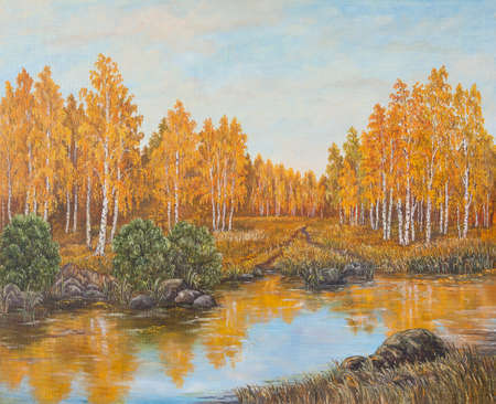 Autumn forest near the river, orange leaves. Original oil painting on canvas.