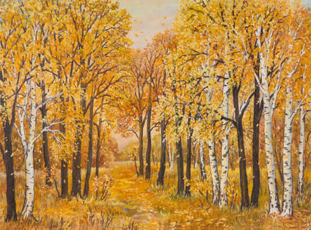 Autumn forest, orange leaves. Original oil painting on canvas.