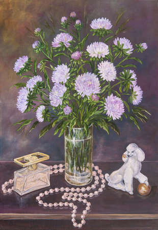 Still life of bouquet asters in a glass jug with beads and figurine of a dog on a table. Original oil painting on canvas.