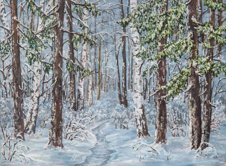 Winter landscape with trees in the snow on a canvas. Original oil painting. Stock Photo
