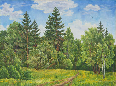 Summer rural landscape in Russia. A field and forest, a high grass. Original oil painting on canvas.