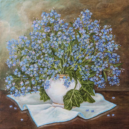 Still life with beautiful Forget-me-not bouquet in ceramic vase. Blue spring flowers forget me not Myosotis in flowerpot. Original oil painting. Author s painting.