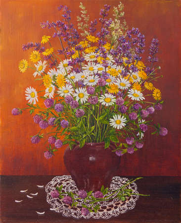 Still life of a clay pot of bouquet wild flowers. Original oil painting. Author s painting.