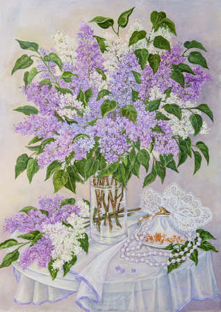 Still life with beautiful blooming pink, violet, purple and white lilac in glass vase on the table. Original oil painting. Stock Photo