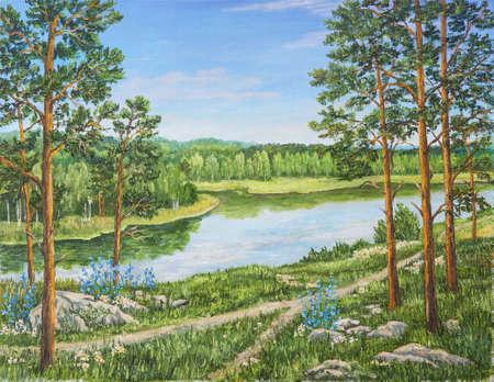 Grüner Wald in der Nähe des Flusses am sonnigen Tag. Landschaft, Kiefern und Birken, Steine, grünes Gras am Ufer eines Flusses. Russland. Originales Ölgemälde. Malerei des Autors. Standard-Bild