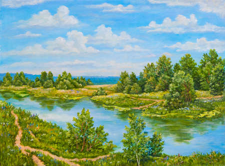 Green bushes near river in sunny day. Landscape trees, green grass on the shore of a river. Original oil painting on a canvas. Author s painting.