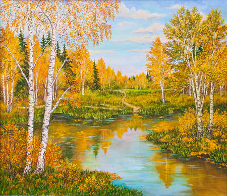 Orange forest near lake in sunny day. Landscape, pine and birch trees, green grass on the shore of a river. Russia. Original oil painting on a canvas.