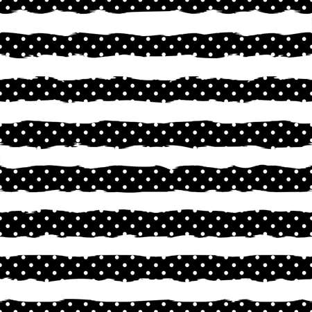 Gold polka dot on trendy background of white and black stripes seamless pattern. Illustration