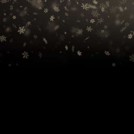 Glitter particles snowflakes overlay effect. Gold glittering star dust sparkling particles on black background. EPS 10 vector file
