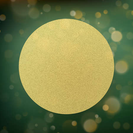 Circle gold foil on green with bokeh background.
