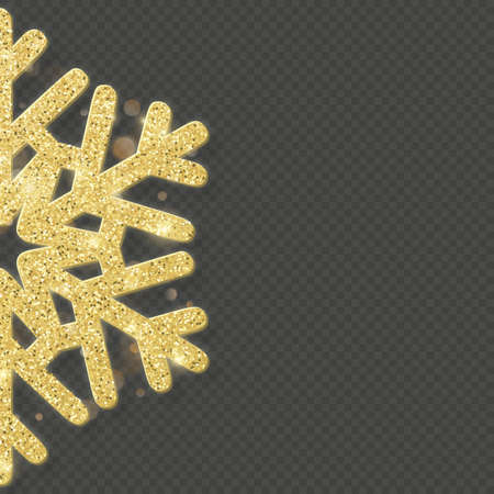 Christmas shining gold snowflake overlay object. Çizim