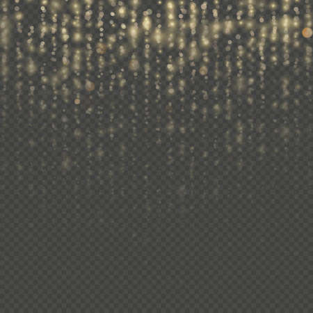 Overlay transparent glitter threads of curtain backdrop. Christmas and New Year effect. Gold particles lines rain. Fashion strass drops with shiny sequins. Sparkling of shimmering light blurs. EPS 10 vector file