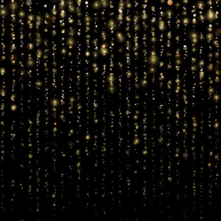 Christmas and New Year effect. Glitter threads of curtain backdrop on black. Sparkling of shimmering light blurs. Gold particles lines rain. Fashion strass drops with shiny sequins. EPS 10 vector file