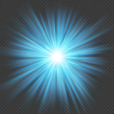 Blue glow star burst flare explosion light effect. Isolated on transparent background.