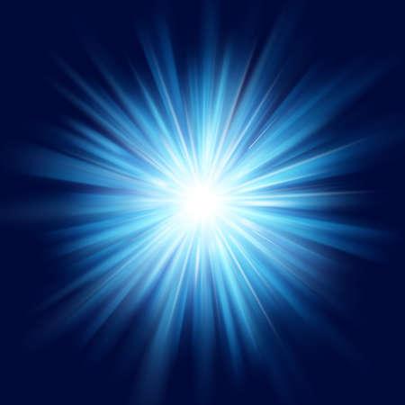 딥 블루 글로우 스타 버스트 플레어 폭발 투명 조명 효과. EPS 10 벡터 파일