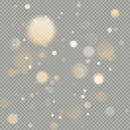 Effect of bokeh circles isolated on transparent background. Christmas glowing warm orange glitter element that can be used.
