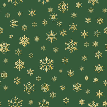 Gold and green snowflakes seamless Christmas pattern. EPS 10 vector file Ilustração
