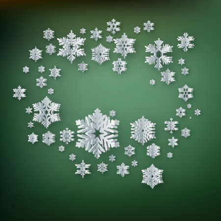 Abstract winter background with paper snowflakes on green background. Illustration
